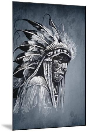 Native American Indian Head, Chief, Vintage Style-outsiderzone-Mounted Art Print