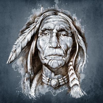 Sketch Of Tattoo Art, Portrait Of American Indian Head-outsiderzone-Framed Art Print