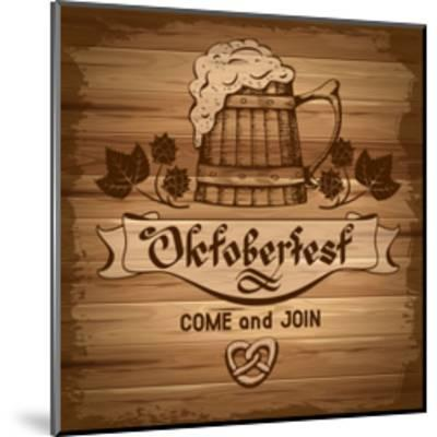 Oktoberfest, Vintage Poster With Wooden Background-Pagina-Mounted Art Print