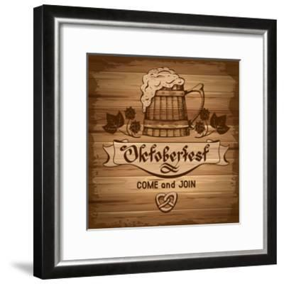 Oktoberfest, Vintage Poster With Wooden Background-Pagina-Framed Art Print