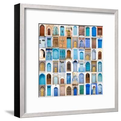 Very Old, Blue And Golden Doors Of Morocco-charobna-Framed Art Print