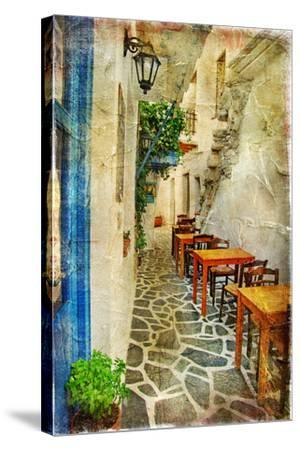 Traditional Greek Tavernas - Artwork In Painting Style-Maugli-l-Stretched Canvas Print
