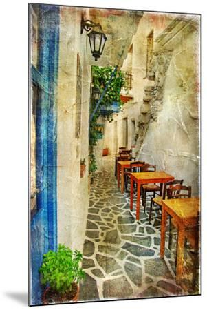 Traditional Greek Tavernas - Artwork In Painting Style-Maugli-l-Mounted Art Print
