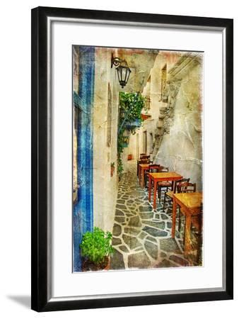 Traditional Greek Tavernas - Artwork In Painting Style-Maugli-l-Framed Art Print