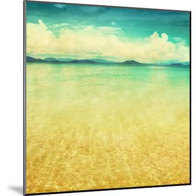View Of The Sea In Grunge And Retro Style-Elenamiv-Mounted Art Print