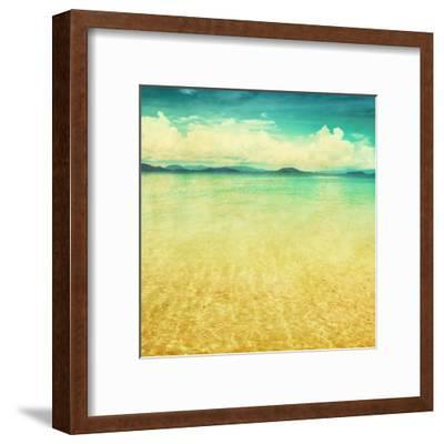 View Of The Sea In Grunge And Retro Style-Elenamiv-Framed Art Print
