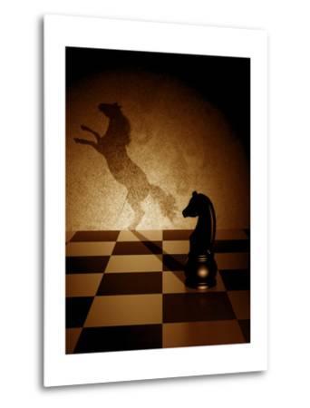 Black Knight With An Art Shadow As A Wild Horse-viperagp-Metal Print