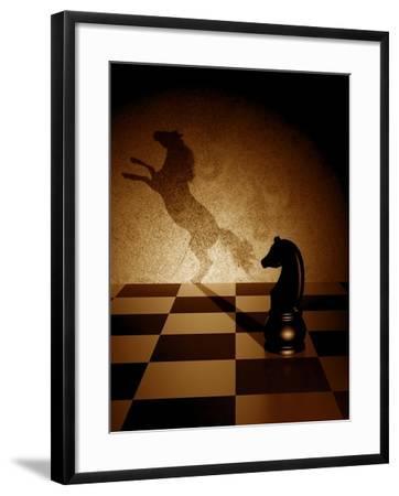 Black Knight With An Art Shadow As A Wild Horse-viperagp-Framed Art Print