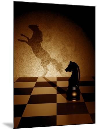Black Knight With An Art Shadow As A Wild Horse-viperagp-Mounted Art Print