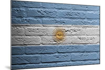 Brick Wall With A Painting Of A Flag, Argentina-Micha Klootwijk-Mounted Art Print