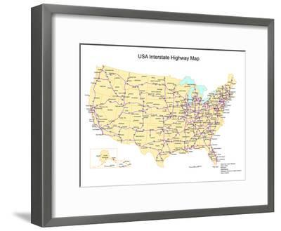 Usa With Interstate Highways, States And Names-Bruce Jones-Framed Art Print
