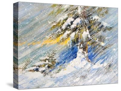 Fir-Tree In Snow. A Picture Drawn By Oil-balaikin2009-Stretched Canvas Print