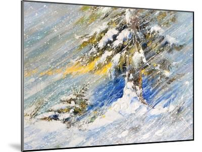 Fir-Tree In Snow. A Picture Drawn By Oil-balaikin2009-Mounted Art Print