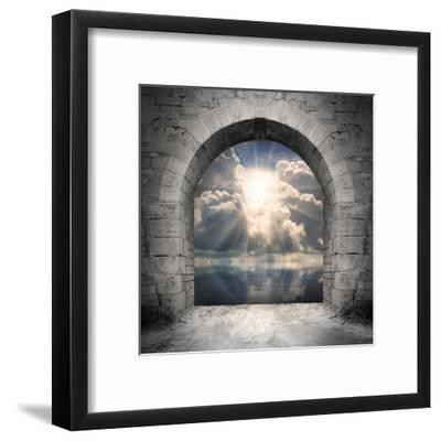 Way To New World. New Life Concept - Light Over Water-Kletr-Framed Art Print