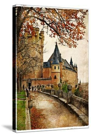 Alcazar Castle - Medieval Spain Painted Style Series-Maugli-l-Stretched Canvas Print