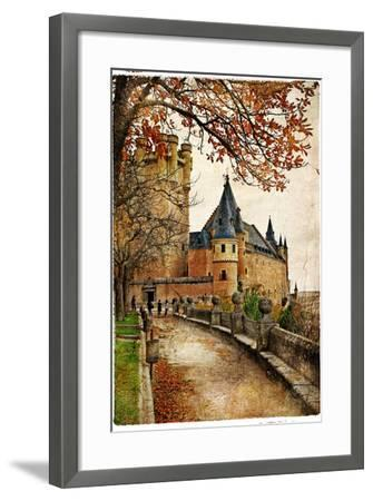 Alcazar Castle - Medieval Spain Painted Style Series-Maugli-l-Framed Premium Giclee Print