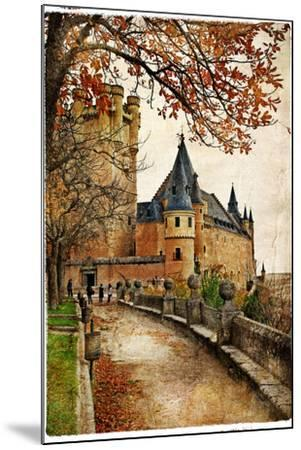 Alcazar Castle - Medieval Spain Painted Style Series-Maugli-l-Mounted Art Print