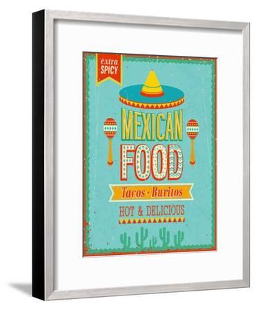 Vintage Mexican Food Poster-avean-Framed Premium Giclee Print