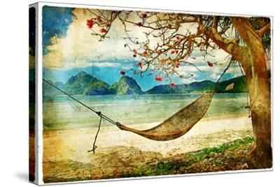 Tropical Scene- Artwork In Painting Style-Maugli-l-Stretched Canvas Print