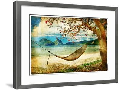 Tropical Scene- Artwork In Painting Style-Maugli-l-Framed Art Print