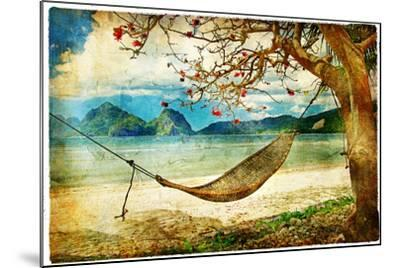 Tropical Scene- Artwork In Painting Style-Maugli-l-Mounted Art Print