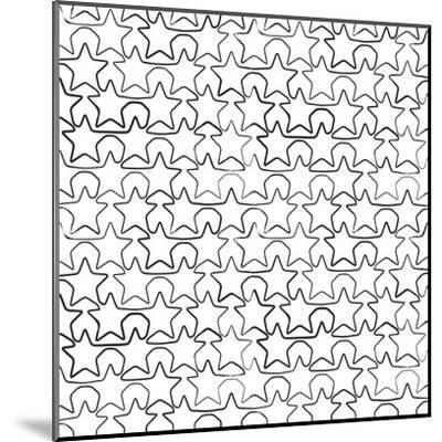 Seamless Pattern With Ink Stars Drawing-Swill Klitch-Mounted Art Print
