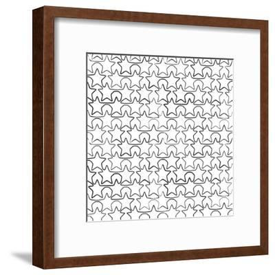 Seamless Pattern With Ink Stars Drawing-Swill Klitch-Framed Art Print