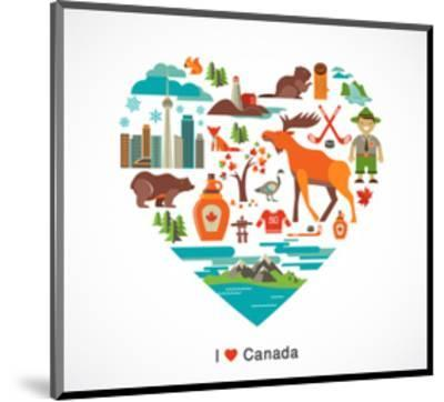 Canada Love - Heart With Many Icons And Illustrations-Marish-Mounted Art Print