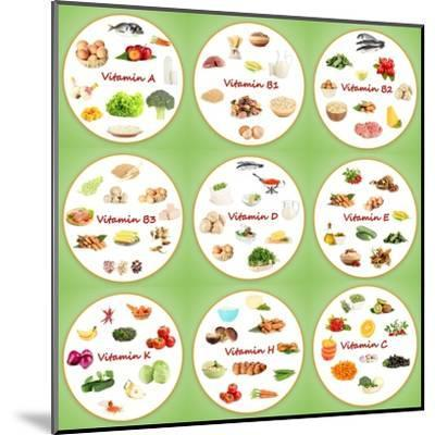 Collage Of Various Food Products Containing Vitamins-Yastremska-Mounted Art Print