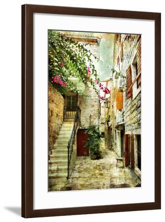 Courtyard Of Old Croatia - Picture In Painting Style-Maugli-l-Framed Art Print