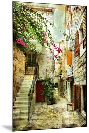 Courtyard Of Old Croatia - Picture In Painting Style-Maugli-l-Mounted Art Print