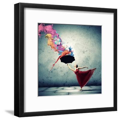 Ballet Dancer In Flying Satin Dress With Umbrella-Sergey Nivens-Framed Art Print