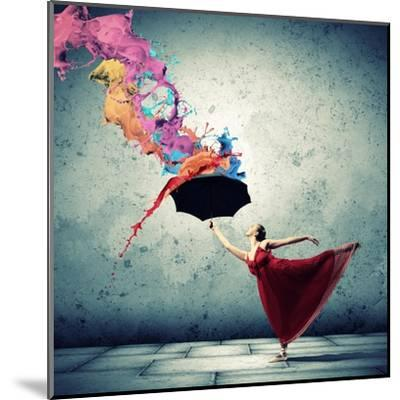Ballet Dancer In Flying Satin Dress With Umbrella-Sergey Nivens-Mounted Art Print