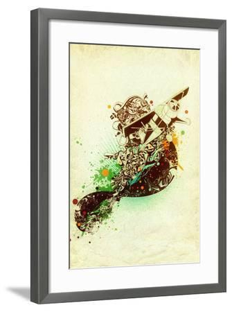 Airplane Drawing With Ornaments On Old Paper- gudron-Framed Art Print