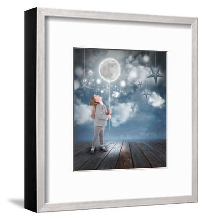 Child Playing With Moon And Stars At Night-Angela_Waye-Framed Art Print