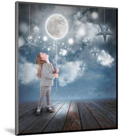 Child Playing With Moon And Stars At Night-Angela_Waye-Mounted Art Print