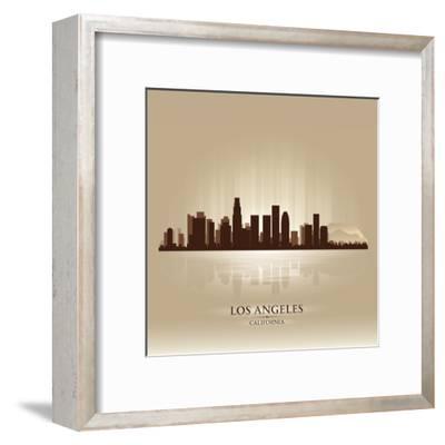 Los Angeles, California Skyline City Silhouette-Yurkaimmortal-Framed Art Print