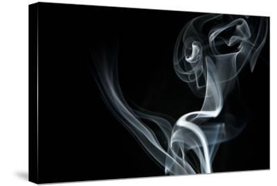 White Smoke Rising On Black Background-Ambient Ideas-Stretched Canvas Print