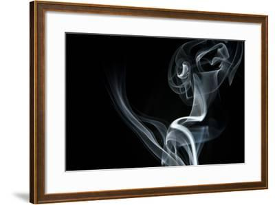 White Smoke Rising On Black Background-Ambient Ideas-Framed Art Print