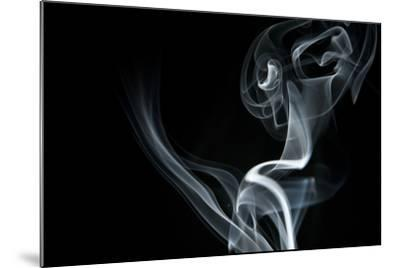 White Smoke Rising On Black Background-Ambient Ideas-Mounted Art Print