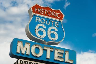 Historic Route 66 Motel Sign In California-flippo-Framed Art Print