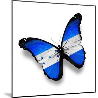 Honduras Flag Butterfly, Isolated On White-suns_luck-Mounted Art Print