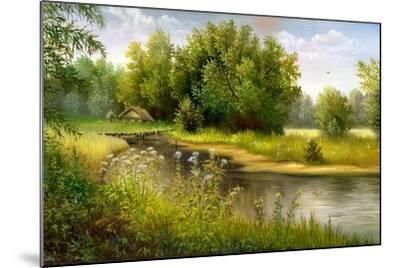 Summer Wood Lake With Trees And Bushes-balaikin2009-Mounted Art Print