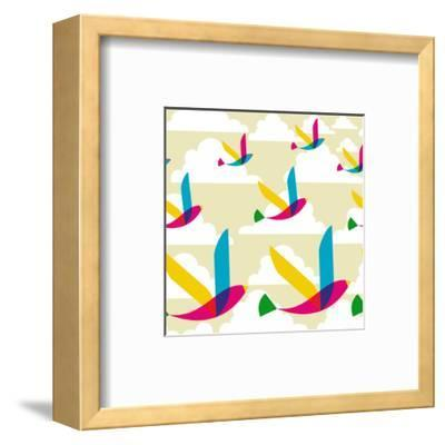 Transparent Multicolored Birds Pattern-cienpies-Framed Art Print