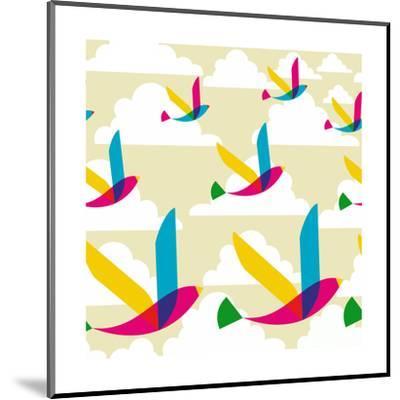 Transparent Multicolored Birds Pattern-cienpies-Mounted Art Print