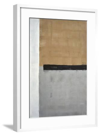Grey And Brown Abstract Art Painting-T30Gallery-Framed Art Print