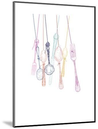Hanging Cutlery Silhouettes-cienpies-Mounted Art Print