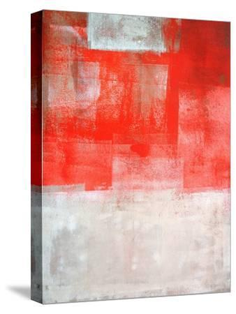 Beige And Coral Abstract Art Painting-T30Gallery-Stretched Canvas Print
