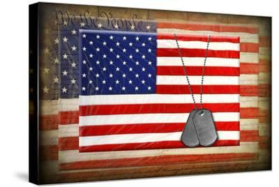 Military Dog Tags On American Flags-14ktgold-Stretched Canvas Print