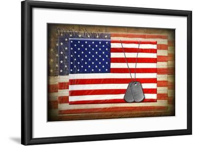 Military Dog Tags On American Flags-14ktgold-Framed Art Print